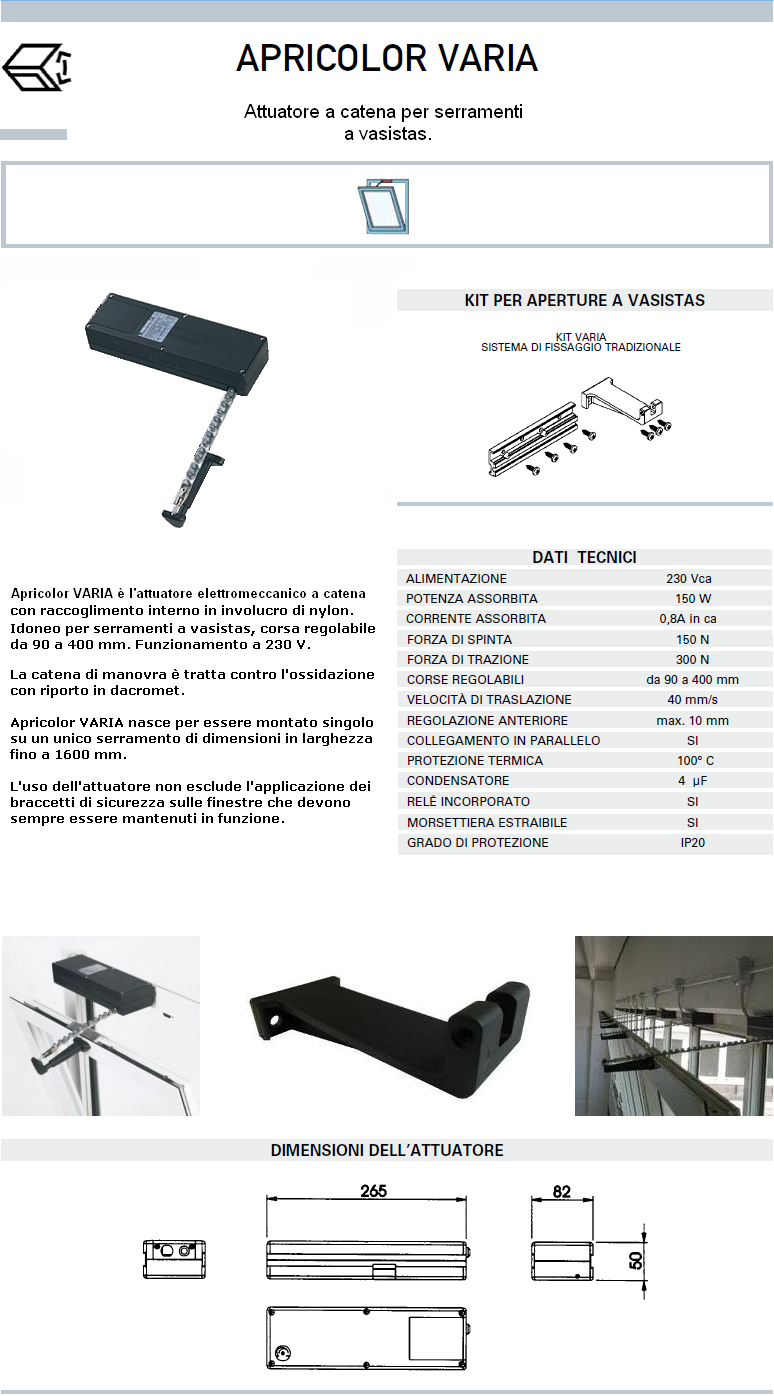 Apricolor varia 230v nero kit vasistas attuatore a catena per finestre - Finestre in kit di montaggio ...