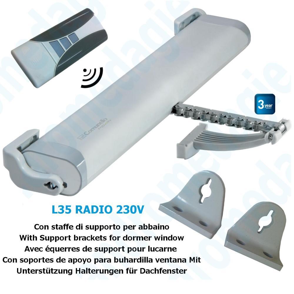 LIWIN RADIO 350N 230V GREY + R1 CONTROL GREY + SUPPORT DORMER WINDOW GREY