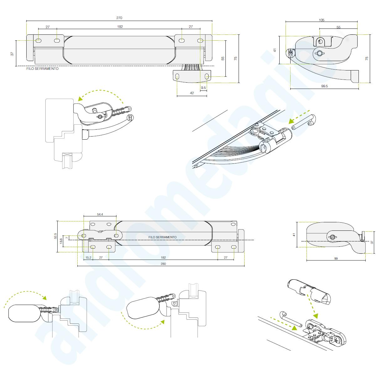 SMART 230V NERO + STAFFE DI SUPPORTO PER ABBAINO NERE