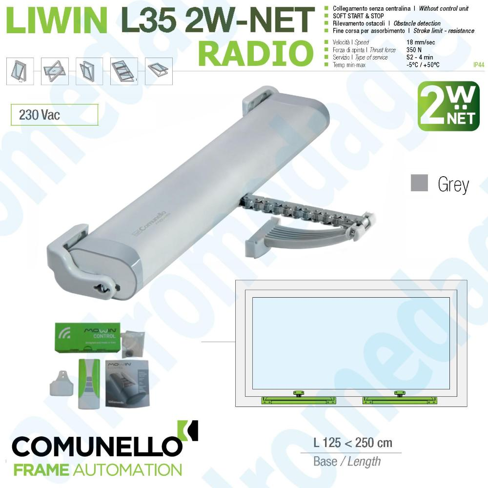 LIWIN 2W-NET RADIO 350N 230V GREY + R1 CONTROL GREEN + SUPPORT SKYLIGHT