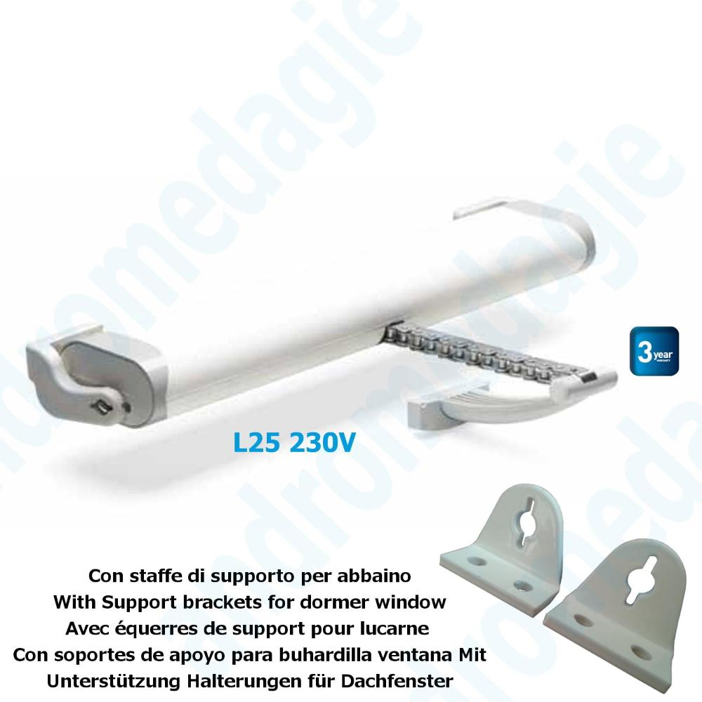 LIWIN 250N 230V WHITE + SUPPORT BRACKETS FOR DORMER WINDOW WHITE