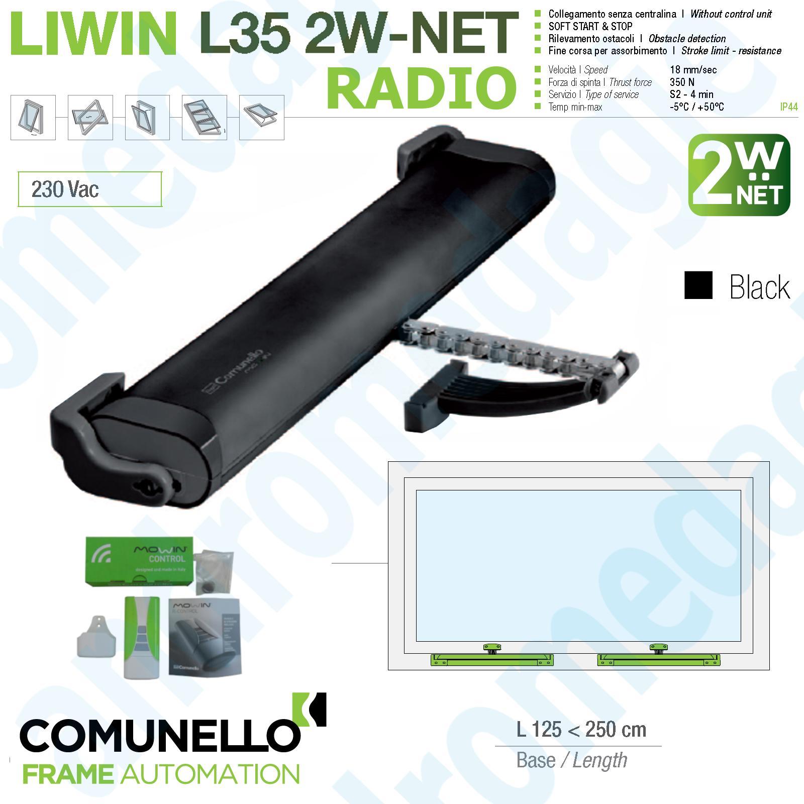 LIWIN 2W-NET RADIO 350N 230V NERO + R1 CONTROL VERDE + STAFFE ABBAINO NERE