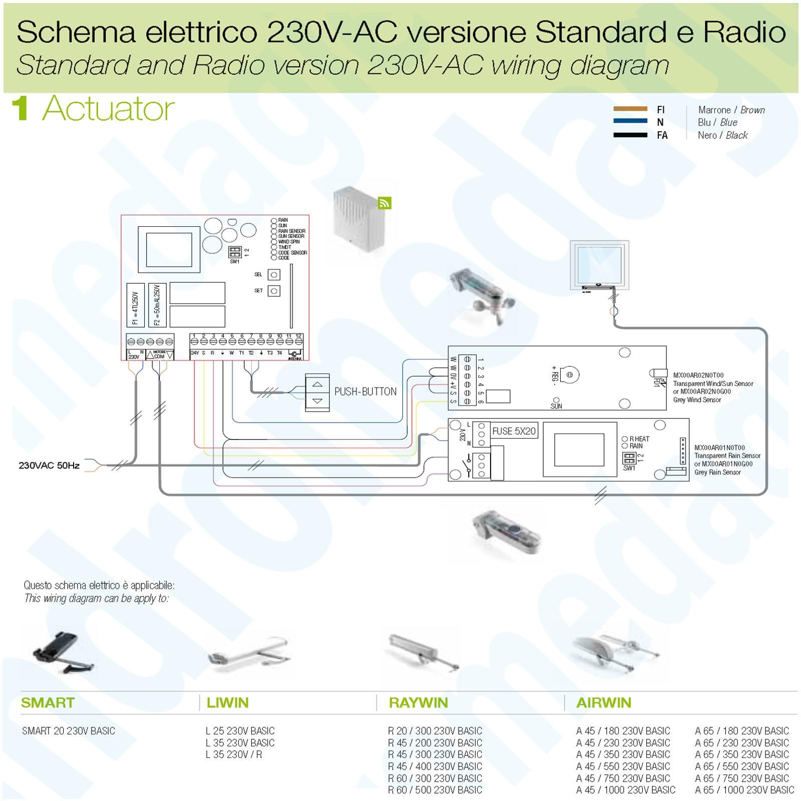 LIWIN 250N 230V NERO + STAFFE DI SUPPORTO PER ABBAINO NERE