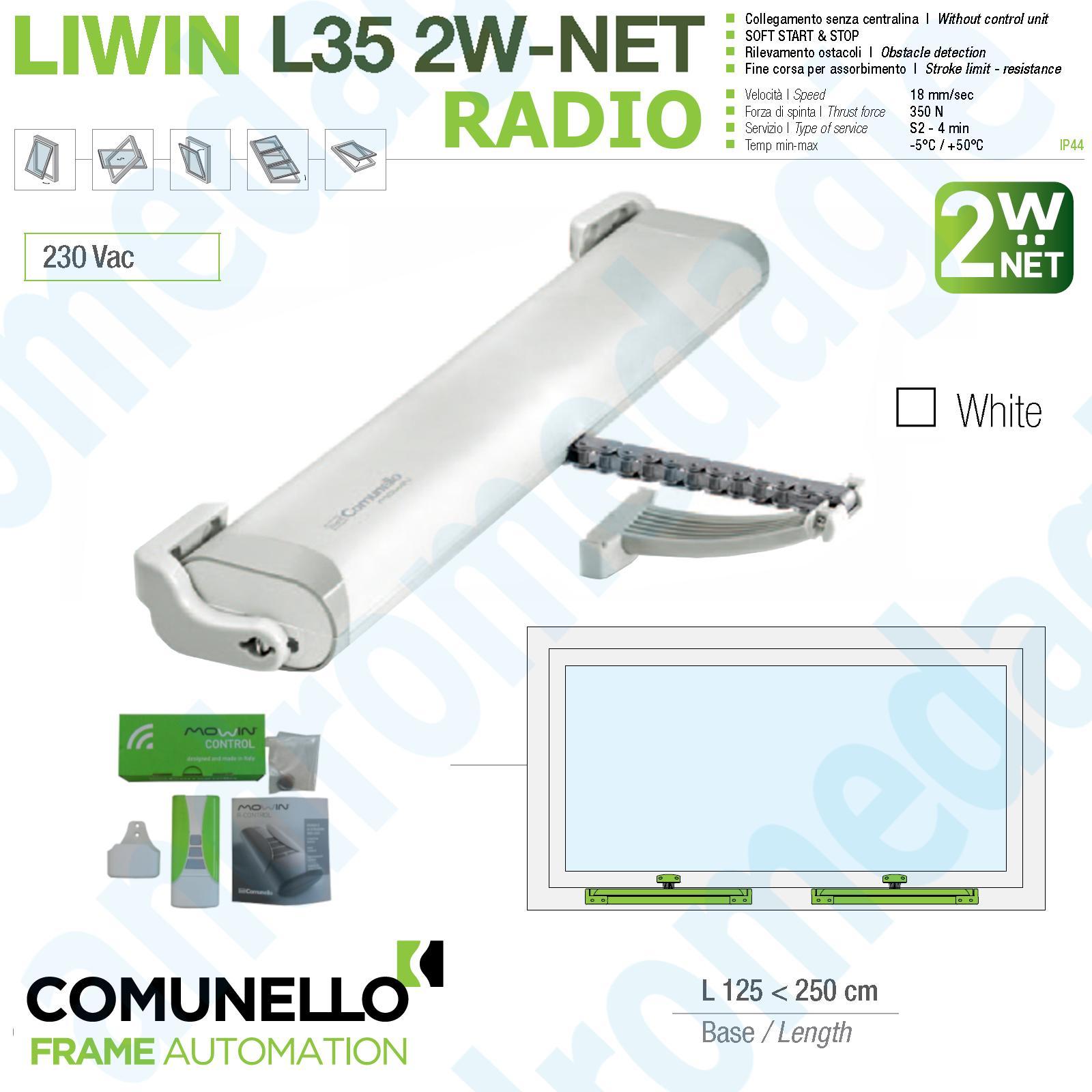 LIWIN 2W-NET RADIO 350N 230V BIANCO + R1 CONTROL VERDE + STAFFE ABBAINO