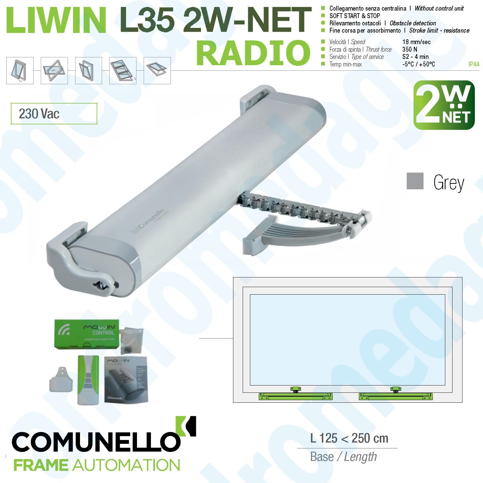LIWIN 2W-NET RADIO 350N 230V GRIGIO + R1 CONTROL VERDE + STAFFE ABBAINO